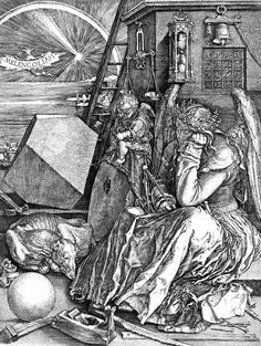 Albert Durer, Melencolia I, 1514, engraving, British Museum, London. Many alchemic symbols.