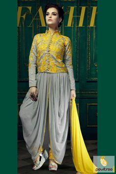 Extremely beautiful grey and yellow chiffon georgette dhoti style wedding suit online shopping is great for Diwali and New year discount offers 2015-2016. #salwarsuit, #bridalsalwarsuit, #salwarkameez, #dhotistyle, #weddingwearsuit, #designersalwarsuit More : http://www.pavitraa.in/store/diwali-dresses-collection/ Call / WhatsApp : +91-76982-34040  E-mail: info@pavitraa.in