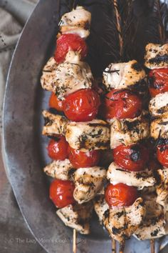 Chicken and Cherry Tomato Rosemary Skewers - low carb and EASY dinner!