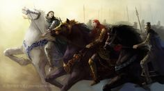 Maedhros and Fingon riding into battle