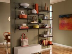 ShelfTrack Elite from ClosetMaid is the perfect organization solution for your living room. Take a bare wall and turn it into a great storage space.