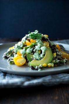grilled corn,, black beans and quinoa with cilantro lime dressing