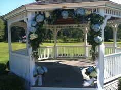 decorated wedding gazebo pictures   gazebo wedding hydrangea ceremony