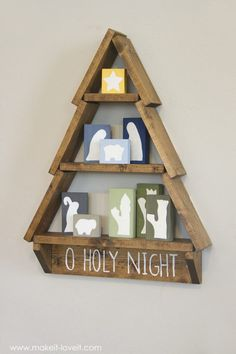 DIY Holiday Tree Shelf…with Nativity Blocks! - Kathrin S - DIY Holiday Tree Shelf…with Nativity Blocks!with Nativity Blocks! Nativity Crafts, Christmas Nativity, Christmas Wood, Christmas Signs, Christmas Projects, Winter Christmas, Homemade Christmas, Holiday Crafts, Christmas Time