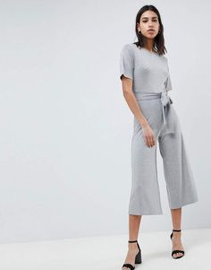 d0bfb8e7bf8 ASOS DESIGN Jersey Jumpsuit With Tie Waist And Culotte Leg Asos