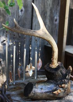 Handgemachte Windchime Deer Antler Tabletop Windchime Muskel Shell und poliertem Aluminium Chimes