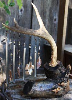 Handmade Windchime Deer Antler Tabletop by RockingchairChimes