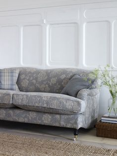 Sofa - LF1740C/6 - Delft. Left Cushion - LF1741C/4 - Sky Check. Relaxed interiors inspiration.