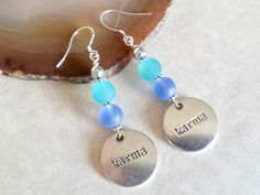 Karma Blues Earrings Hand Crafted By Isis Creations ~ Unique Gift Idea! Wiccan, Pagan Artisan Jewelry For Stocking Stuffer or Gift Exchange by IsisCreationz on Etsy