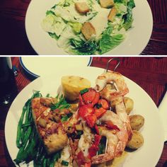 ENGAGE: Red Lobster (20 Dundas St W) – First to mention is that their service is excellent! The waiter was very helpful and was always around to check if we were ok. The food was very appetizing and tasty. The picture shows a Caesar salad (entreé) and lobster, shrimp and salmon with potatoes and green beans (main course). The nice lounge music playing was enjoyable and helped creating a great atmosphere.