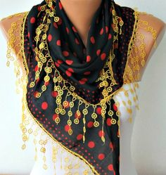 Polka Dot  Scarf   Cotton Scarves  Headband Necklace by fatwoman, $17.00