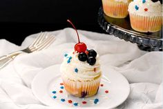 Gluten-Free Red, White & Blueberry Cupcakes