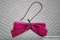 Bows earrings velvet earrings deep pink earrings fuchsia