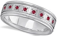 #Jewelry Ruby Wedding Band for Men Natural Gemstone Ring Palladium