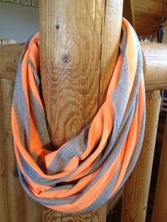 Heather Gray and Neon Orange Infinity Scarf