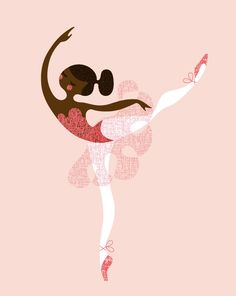 ballerina arabesque giclée print. 8X10. pink/brown. african american or indian.. $20.00, via Etsy.