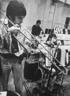 The Beatles rehearsing for the Our World live satellite… / OH I LOVE THIS PIC OF THEM....IT'S THEM JUST BEING THEM!  ♥