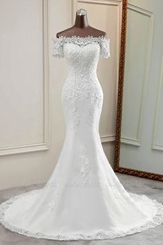 Elegant Long Sleeves Lace Mermaid Wedding Dresses Appliques White Bridal Gowns with Beadings Applique Wedding Dress, Lace Mermaid Wedding Dress, Long Wedding Dresses, Long Sleeve Wedding, Applique Dress, Tulle Wedding, Mermaid Dresses, Cheap Wedding Dress, Wedding Dress Styles