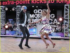 Riker Lynch and Allison Holker on the dance floor on #GMA