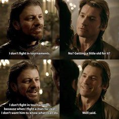 Game of Thrones (season Eddard Stark and Jaime Lannister. Miss you Ned Stark Game Of Thrones Tv, Game Of Thrones Quotes, Winter Is Here, Winter Is Coming, Eddard Stark, Ned Stark, Cersei And Jaime, The Last Kingdom, Got Memes