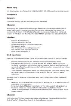 Teacher Aide Resume How To Write A Reading Specialist Resume Using Accomplishments .
