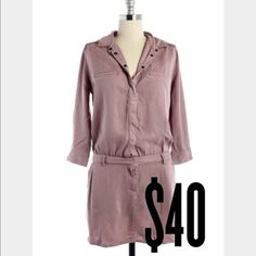 """Etienne Marcel Long Sleeve Tunic Dress New! - 100% Lyocell - Front Button Closures - Front Slant Pockets - Button Cuff Sleeves - shoulder Seam to Hem approximately 34"""" - Color: Mauve (Looks amazing with sleeves cuffed or rolled up) Etienne Marcel Dresses"""