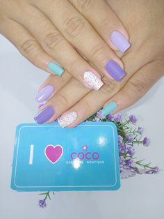 Gelish- A Mint of spring- Po Riwinkle- Lots of Dots- he Loves me, he loves me not- Arctic Freeze