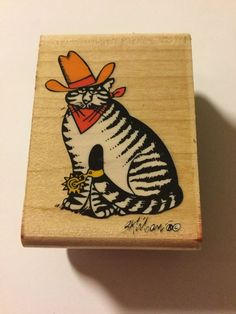KLIBAN CAT Rubber Stamp TEX Cowboy WESTERN  | eBay