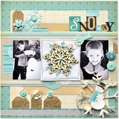 2 photo   winter snow  snowflakes  ...#papercraft #scrapbook #layout