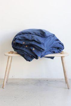 Linen duvet cover - duvet cover in blue color - duvet cover queen - washed linen Linen Duvet, Linen Napkins, Duvet Covers, Blue, Bed Sheets