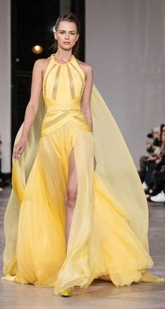Georges Chakra S/S Another lovely yellow gown with sheer cutouts with bead. - Georges Chakra S/S Another lovely yellow gown with sheer cutouts with beading - Georges Chakra, Yellow Evening Gown, Yellow Gown, Evening Dresses, Gala Dresses, Couture Dresses, Fashion Dresses, Beyonce, Rihanna