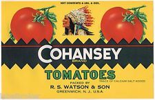 CAN CASE CRATE LABEL 1940S COHANSEY NEW JERSEY NATIVE AMERICAN INDIANS VINTAGE