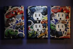 Blaze Monster Machines 3 pc Light Switch Cover boys kids bedroom room home decor