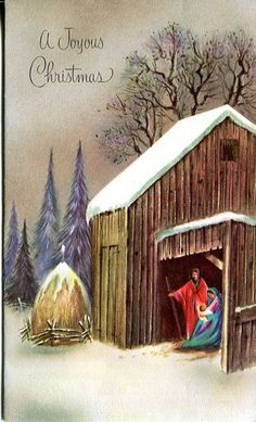Vintage  Christmas Card: Nativity Scene in the Snow - Gold Highlights ..