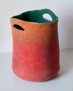 Large Oversized Orange Sturdy Everyday Art Tote Bag, Carryall Basket for Shopping, Market, Picnic / Hand felted wool / Wearable Art Ceramic Pottery, Ceramic Art, Pottery Handbuilding, Sculptures Céramiques, Felt Purse, Art Bag, Paperclay, Needle Felted Animals, Wet Felting