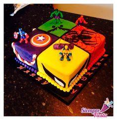 Avengers Birthday Cakes, 6th Birthday Cakes, Superhero Birthday Cake, Boy Birthday, Superhero Party, Pastel Avengers, Gateau Harry Potter, Marvel Cake, Batman Cakes
