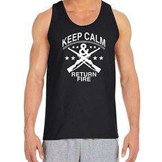 Keep Calm and Return Fire Dark Heather Adult T-Shirt