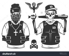 stock-vector-set-of-rap-skull-and-hip-hop-skeleton-black-and-white-style-373748323.jpg (1500×1225)