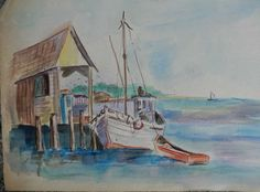 Vintage Shrimp Shack Watercolor Painting 12x17 by gypsytejas on Etsy