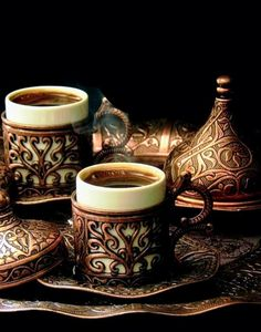 """my-sea-of-time: """" """"Morning Coffee """" Turkish coffee, so good! Coffee Gifts, Coffee Set, Black Coffee, Coffee Cups, Tea Cups, Turkish Delight, Turkish Coffee, Chocolate Cafe, Coffee Pictures"""