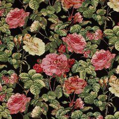 Gobelin Rosenstrauch - Baumwolle - Polyester - Polyacryl - schwarz
