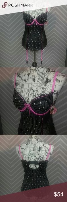 "New Playboy Lingerie Babydoll W Front Garter Strap Reasonable offers always considered on items over $15. Bundle discount available! No trades.  New with tag! Playboy lingerie babydoll. Bra cups, strap, and back clips extend to a sheer sided stretch babydoll. Front adjustable and removable garter straps. Playboy Bunny logo throughout. Bust approximately 14"" flat, 17.5"" length from base of straps. 92% polyester, 8% spandex.  M63.4354 Playboy Intimates & Sleepwear"