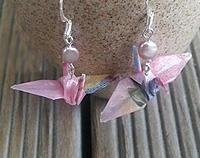 Crane Origami Hook Earings pink tones