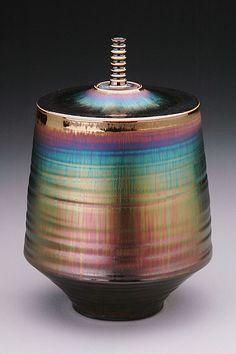 宮村 秀明 「jar with blue hare's glaze」 陶磁器