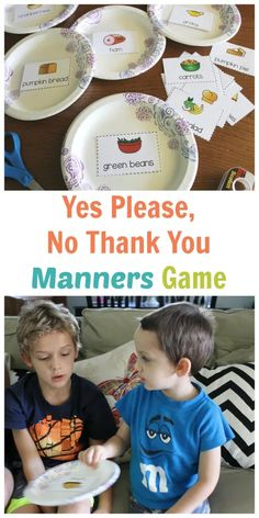 Yes Please, No Thank You Holiday Meal Manners Game - FREE Printable AND Giveaway! - Happy Home Fairy Manners Preschool, Teaching Kids Manners, Manners Activities, Manners For Kids, Social Skills Activities, Preschool Printables, Preschool Lessons, Lessons For Kids, Toddler Activities