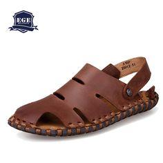 Nova chegada praia sandálias para homens, Sapatos de couro genuíno verão masculino, Costura clássicos chinelos para homens