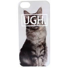 UGH. Cat Phone Case ($20) ❤ liked on Polyvore featuring accessories, tech accessories, phone cases, phone, tech, technology, iphone cases, cat iphone case, white iphone case and iphone cover case
