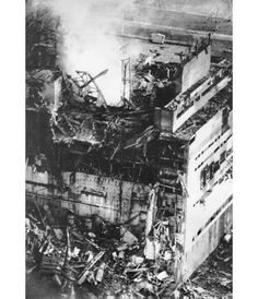 A unique photo of the destroyed fourth reactor of the Chernobyl nuclear power plant made by the plant's photographer Anatoliy Rasskazov in the first hours after the deadly 26 April 1986 explosion. A highly radioactive vapour trail is seen coming from the heart of the destroyed reactor. Rasskazov got some 300 Roentgen (fatal is 500 Roentgen) while taking photos. He died in 2010 of cancer.