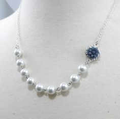 Navy Blue White and Silver Flower Bridesmaids Wedding Necklace. $17.00, via Etsy.