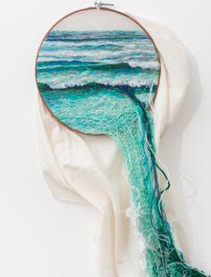 Embroided seascape